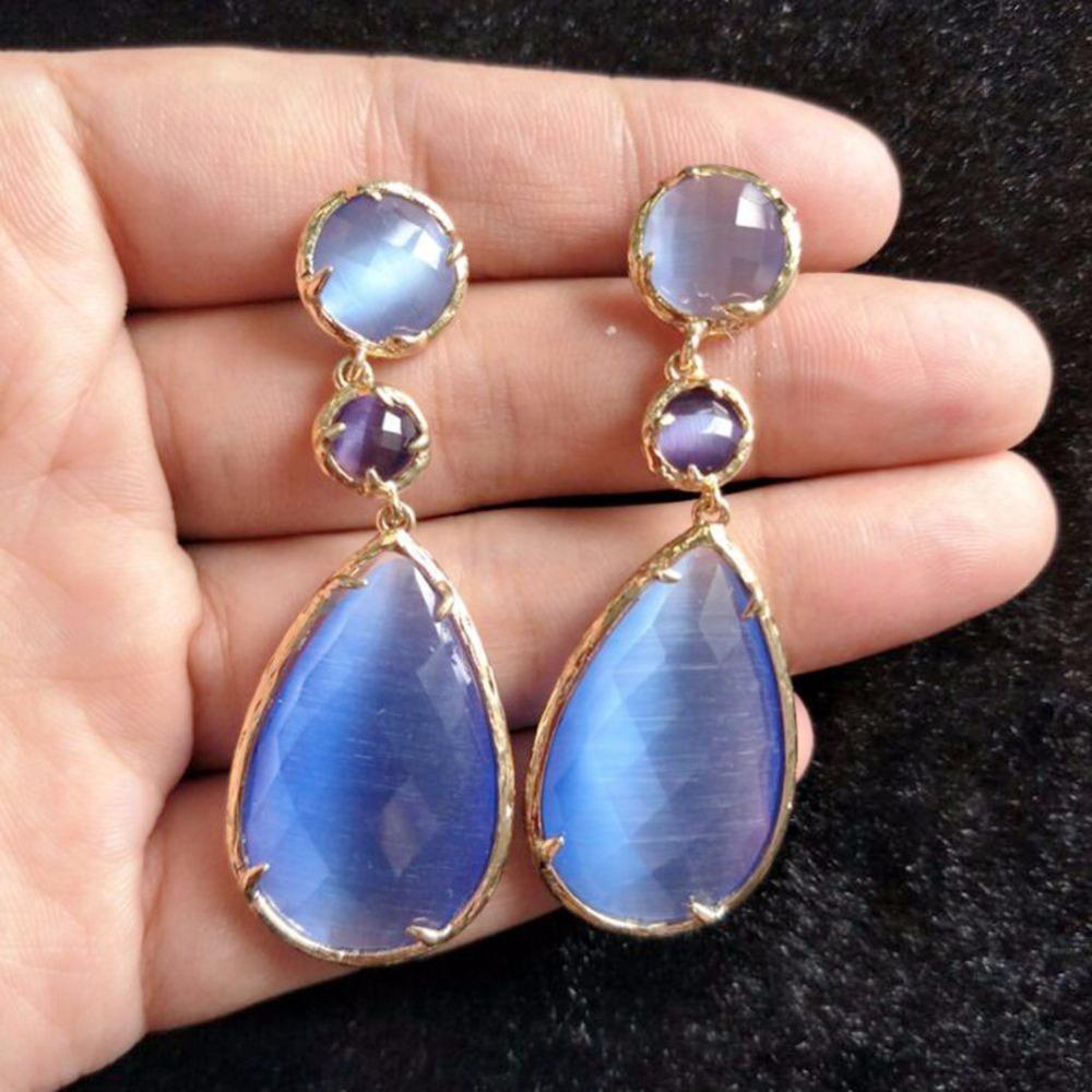 Shining Stone Fresh Colors Earing Party Fashion Earring Precious Jewelry for Women Summer Earrings 2018 in Drop Earrings from Jewelry Accessories