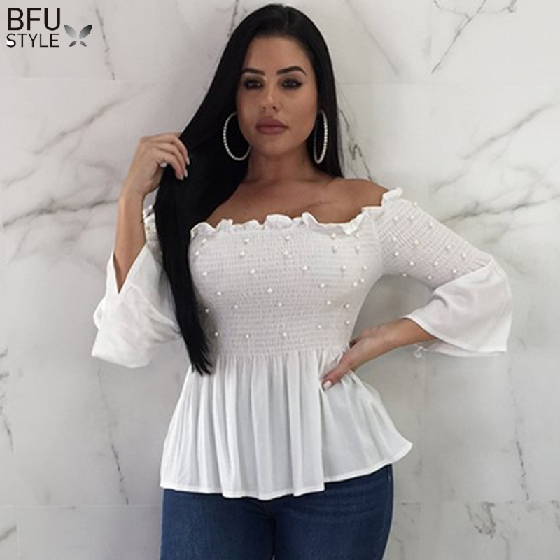 Off Shoulder Pearl Blouse Shirt Sexy Women Ruffle Sleeve White Red Blouses 2019 Summer Chiffon Autumn Elegant Female Tops