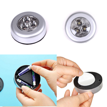 Mini Round 3 LED Push Tap Stick Convenient Touch Practical Cabinet Home Night Light Lamp Cordless Bulb