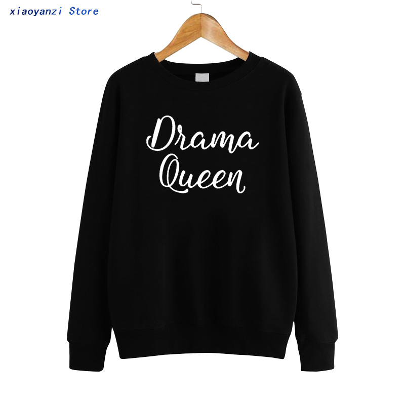 2019 New Arrivals Fashion Brand Street Fashion Drama Queen Print Sweatshirts Women O-Neck Hoodies Pullovers Sweatshirt euu93-454