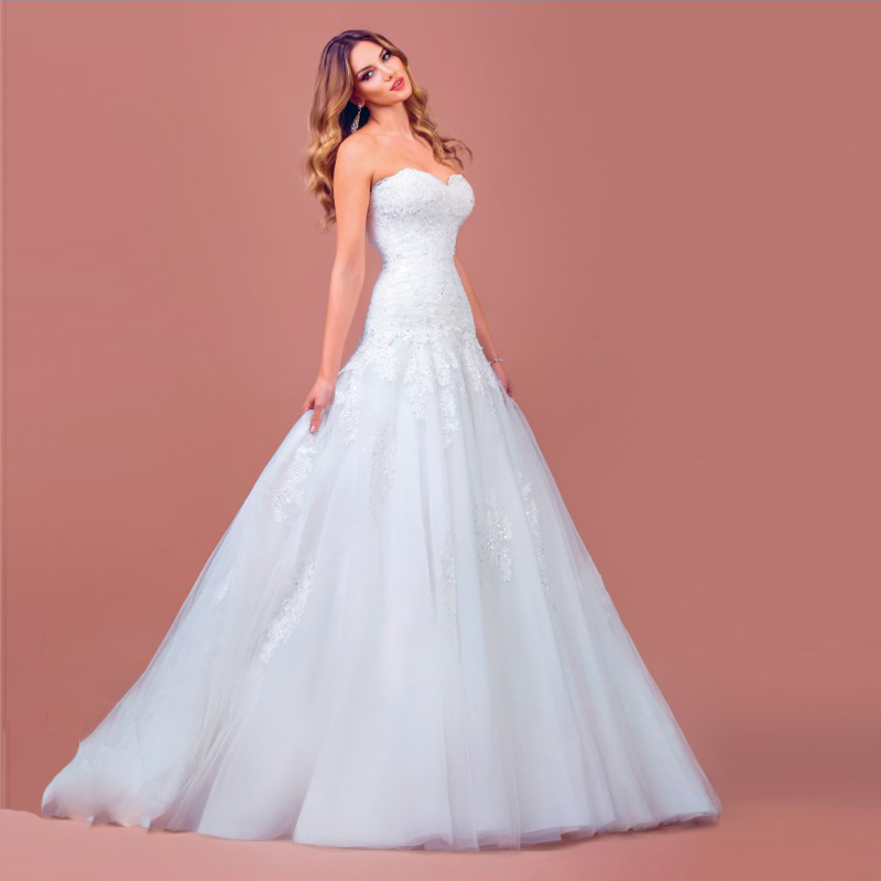For Her Latest Design Sweetheart Dropped Waist Custom Organza Princess Wedding Dresses 2015 Lace Appliques in Wedding Dresses from Weddings Events