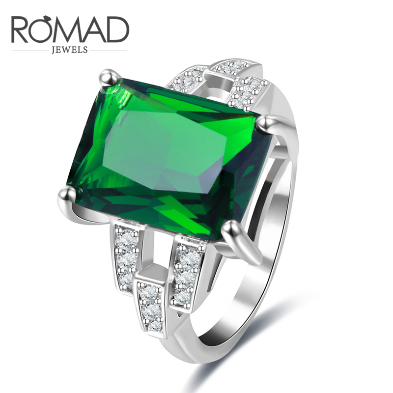 ROMAD Noble Big Green Color Square Stone Ring for Women Female Mother Creative Fashion Jewelry Hot Sale In Store