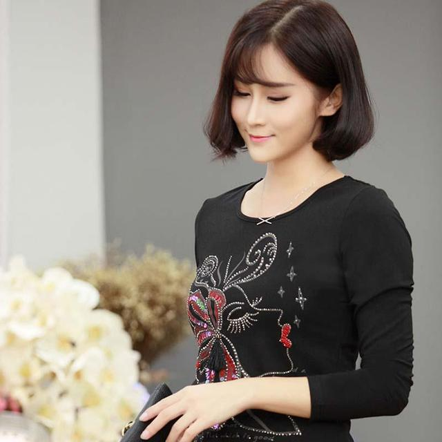 Women Autumn and Spring lace long sleeve splice render unlined upper garment Flora Printed O Neck Ms T-shirt