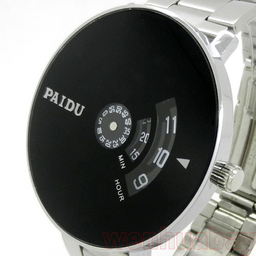 PAIDU Silver Band Quartz Wrist Watch Black Turntable Dial Clock Mens Womens Gift Unisex Q0844