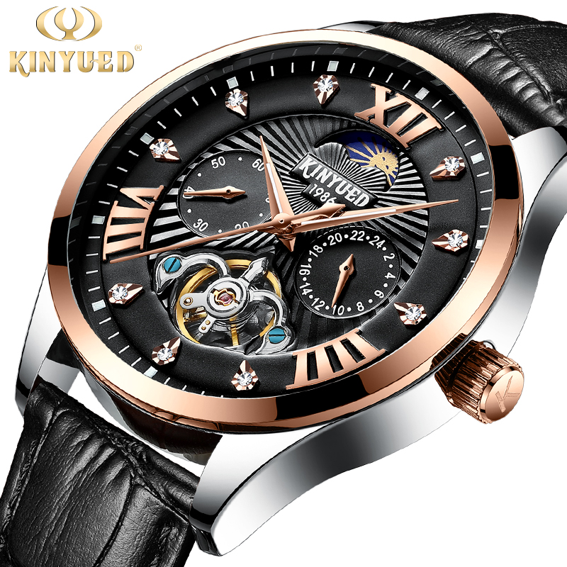KINYUED Fashion Watch Men Luxury Automatic Mechanical Wristwatch Tourbillon Moon Phase Chronograph iamond reloj mecanico hombre forsining2018 fashion casual new luxury roman numeral dail with tourbillon men s watch wristwatch moon phase display skeleton wa