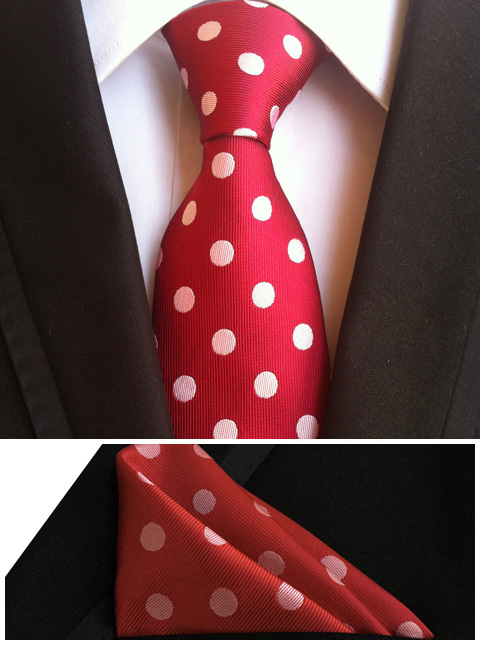 immagini dettagliate autentica di fabbrica eccezionale gamma di stili US $3.99 20% di SCONTO|QXY mens cravatte di moda tasca piazza cravatta set  uomo cravatte rosse rosa dot affari poliestere cravatta di seta fazzoletto  ...