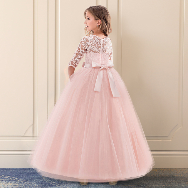 New Princess Lace Dress Kids Flower Embroidery Dress For Girls Vintage Children Dresses For Wedding Party Formal Ball Gown 14T