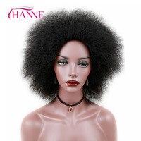 HANNE 6 Pulgadas 100g Corto Rizado Afro Pelo Sintético Recta Pelucas Mullidas para Las Mujeres Negras peluca de Fibra De Baja Temperatura Ajustable tamaño