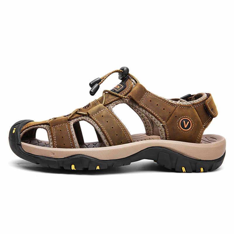 Vanmie męskie sandały skórzane letnie klapki dla mężczyzn