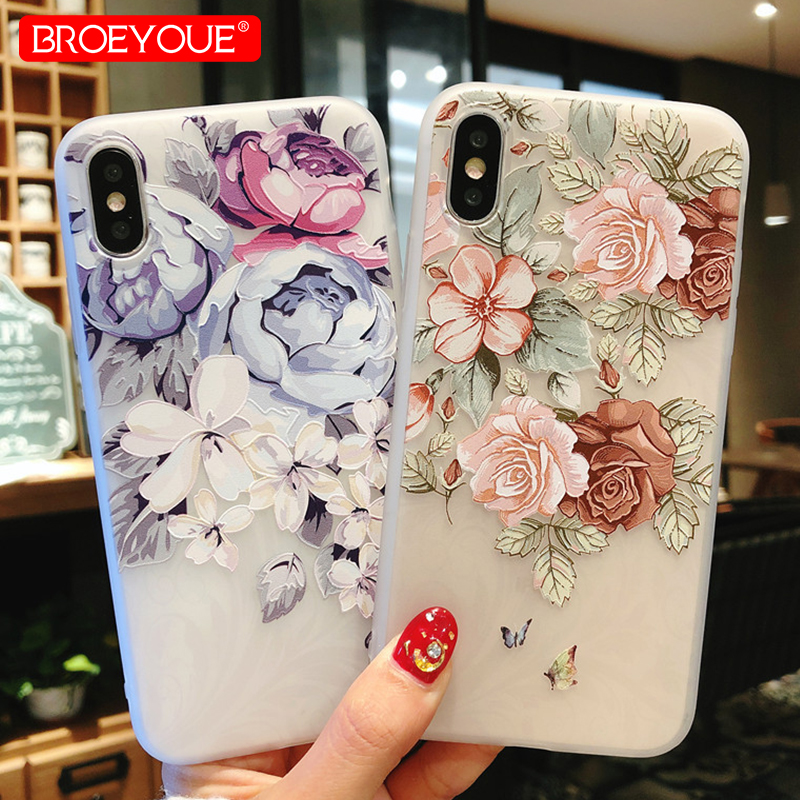 BROEYOUE Case For Xiaomi Redmi 4X 4A Note 4X Note 5A 5 Pro For Xiaomi 5X A1 Relief Flowers Cases For iPhone SE 5S 7 6 6S X Cover