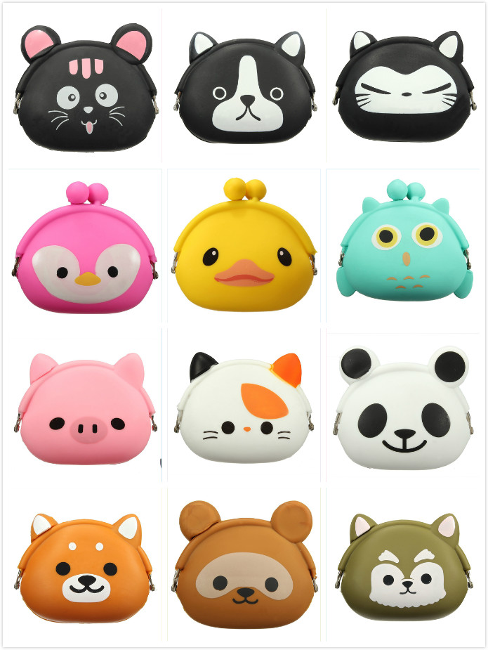 VSEN 13 colors Lovely Girls Wallet Candy Color Kawaii Cute Cartoon Animal Multicolor Silicone Jelly Coin Bag Purse Kids Gift new fashion lovely kawaii candy color cartoon animal women girls wallet multicolor jelly silicone coin bag purse kid gift