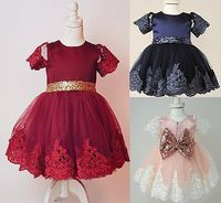 CANIS Girl Banquet Dress Baby Occasion Party Christening Flower Girl Wedding Bow Lace Sequins Dress High