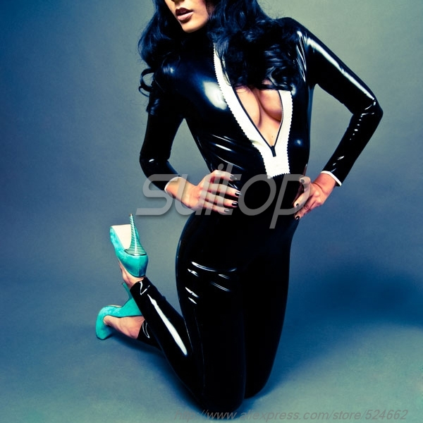 все цены на Women 's Latex Catsuit Front Zipper rubber teddies in black and white female 's онлайн