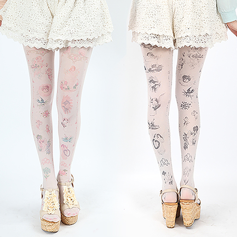 Sexy Women Fashion Japan Angel Animal Mock Knee High Tattoo Tights Pantyhose Pattern Printed Stockings