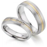 2017 new luxury handmande custom health titanium Wedding bands Couples Rings sets Gold Plating Inlay titanium jewelry