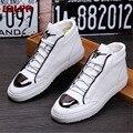 2017 Nuevo Cuero Genuino de Alta superior Zapatos de Marea Blanca De Encaje Típico de Metal Marca de Lujo Hombre Joven Sneakers Casual Shoes