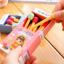 8 pcs lot 1 box Cute Kawaii Matches Eraser Lovely Colored Eraser for Kids Students Kids