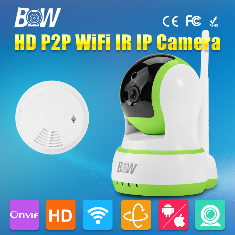 ФОТО BW Wireless Wifi Dome IP Camera HD 720P Security 3.6mm Endoscope CCTV + Smoke Detector Onvif Home/Elder/Baby/Pet Care Monitor