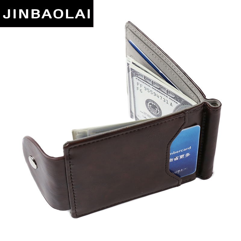 JINBAOLAI Fashion Clamp For Money Brown Coffee Color Money Clips High Quality PU Leather Women Wallets Hasp Purses New Arrivals