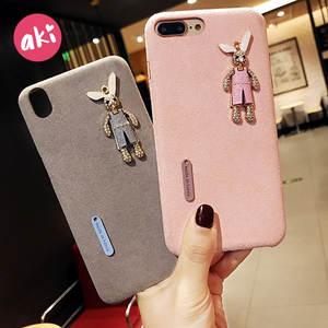 AKI Rhinestone Diamond Rabbit Microfiber Hard Back Phone Case for iPhone 8  7 Plus 58afbaeb14bc