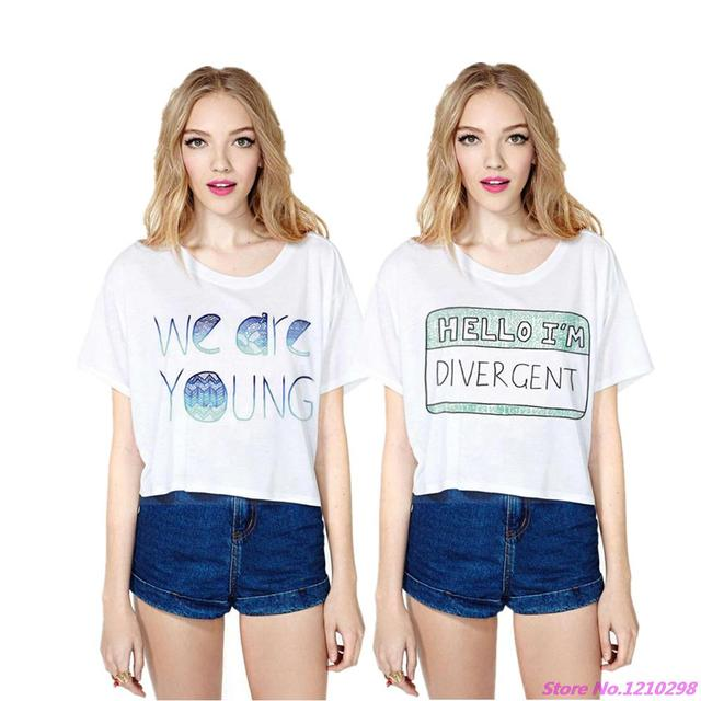 480f2ca29 2017 We Are Young Sexy Cropped Tops Women White Loose Short Beach Wear  Hello I'M Divergent Letters Printed T Shirt Blousas