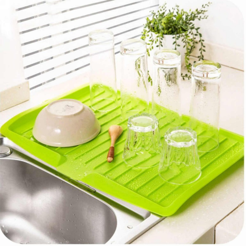 2018 Kitchen Dining Bar Racks Tools Plastic Dish Drainer Tray Large Sink  Drying Rack Work top Organizer Table Decoration-in Racks & Holders from  Home