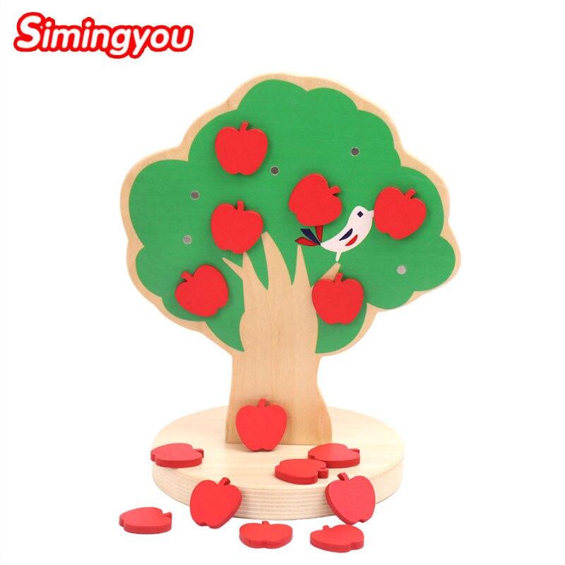 Simingyou magnétique pommier début enseignement créatif bricolage en bois jouet forme géométrique pour enfants jeu de logique C20 livraison directe