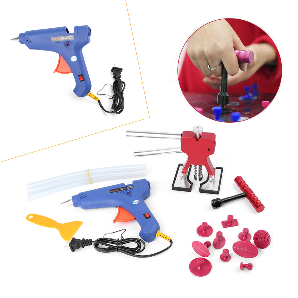 Car Professional Dent Repair Lifter Car Body Dent Removal Kit Glue Gun and Sticks Paintless Dent Repair T bar Puller 19PCS/SET