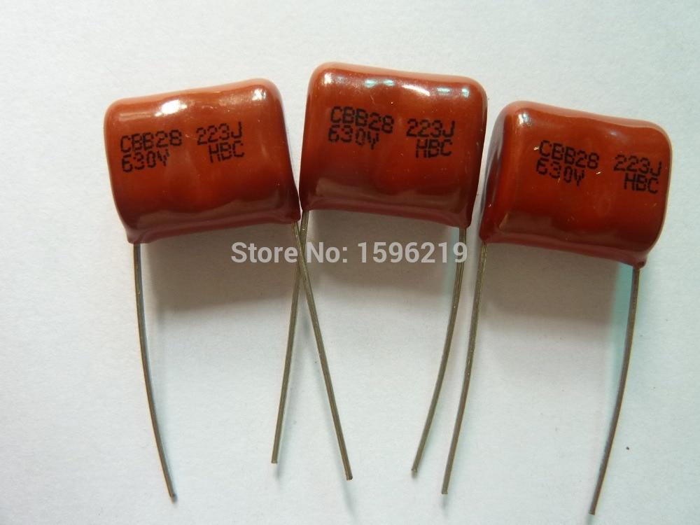 10Pcs CBB 223 630V 223J CBB28 0.022uF 22nF P15 Metallized Polypropylene Film Capacitor