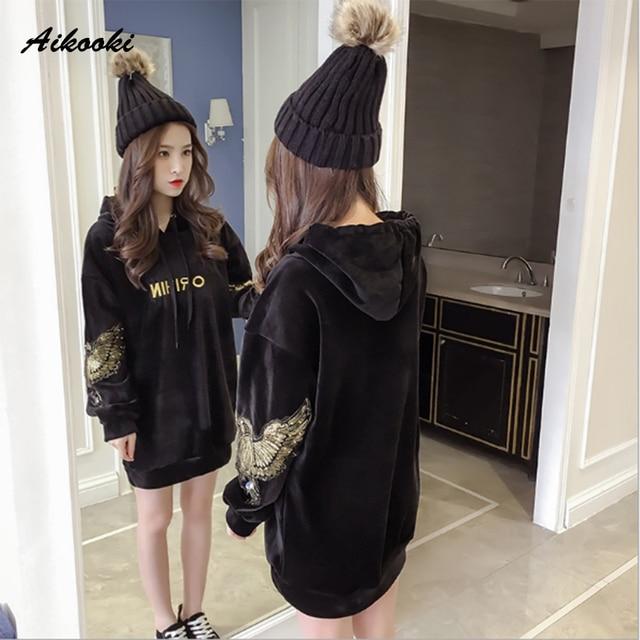 Aikooki Women Velvet Hoodies Sweatshirt Ladies Autumn Winter Fashion Sequined Velvet Pullover Harajuku Long Style Hoodie Clothes