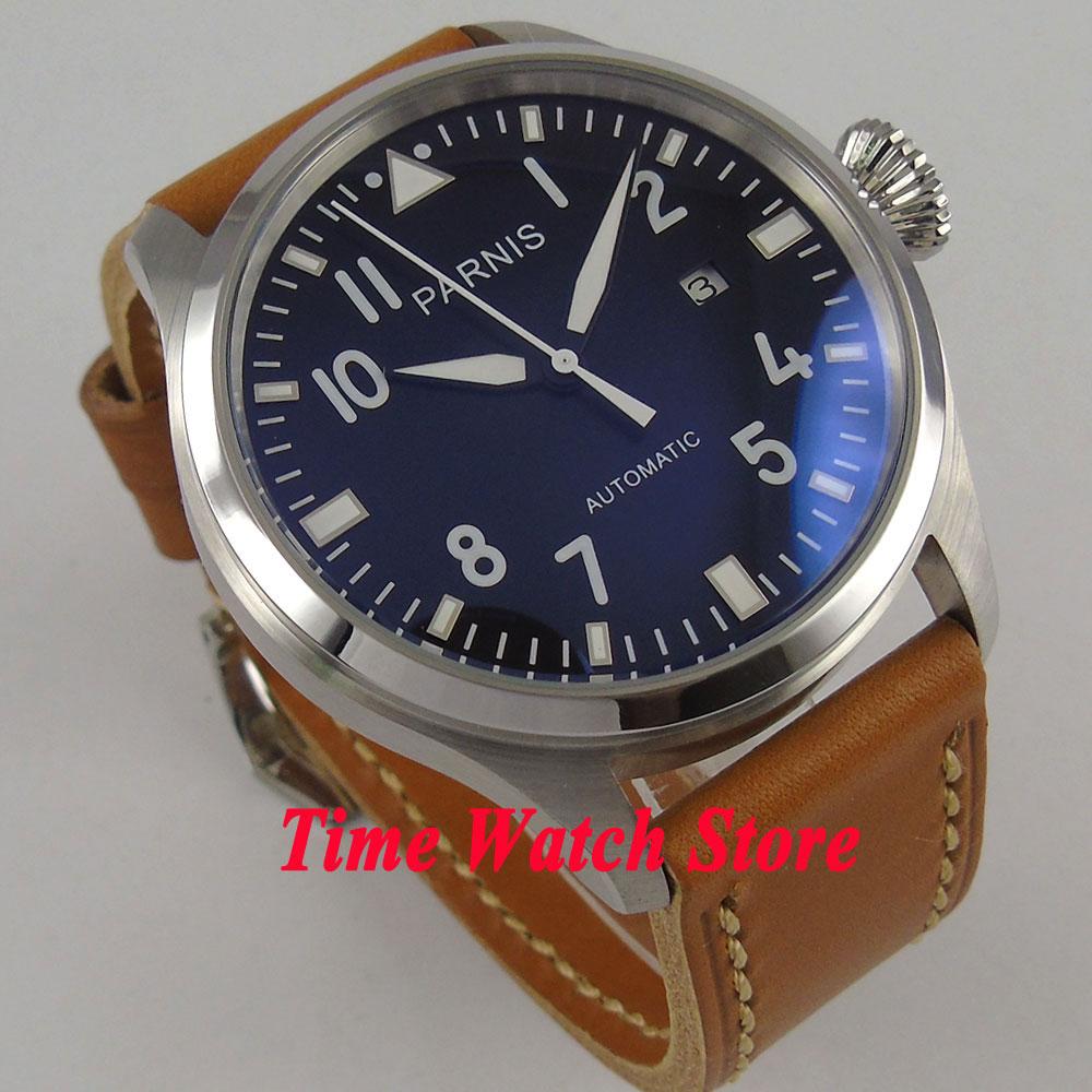 Parnis 47mm Black Dial Luminous Big Crown Date Window ST Automatic Men's Watch Wristwatch 38