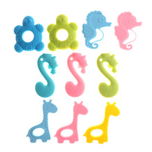 Cute Baby Teether Necklace Chew Toy Baby Teething Pendant BPA FREE Silicone Teething Collares Pacifier Clips(China)