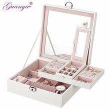 Коробка для хранения макияжа Guanya, Экологичная шкатулка для ювелирных изделий из искусственной кожи, большая емкость, квадратное кольцо, чехол для серег, органайзер, подарок на день рождения
