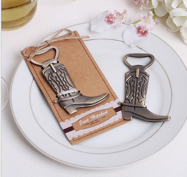 Just Hitched wedding favor gift and giveaways for guest -- Boots shoes bottle opener party favor souvenir 200pcs/lot