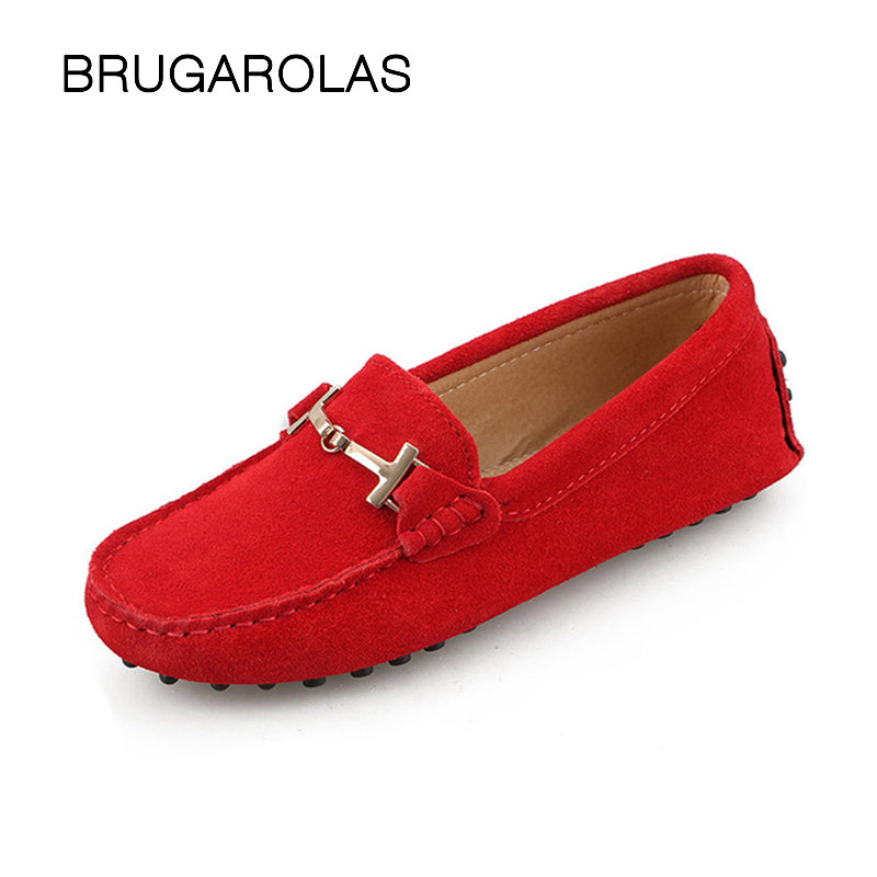 BRUGAROLAS -  Hot Sale 100% Genuine Leather Shoes Women Spring Summer Flats shallow Driving Shoes Women loafers solid boat shoes hot sale 100% genuine leather women s handbag summer