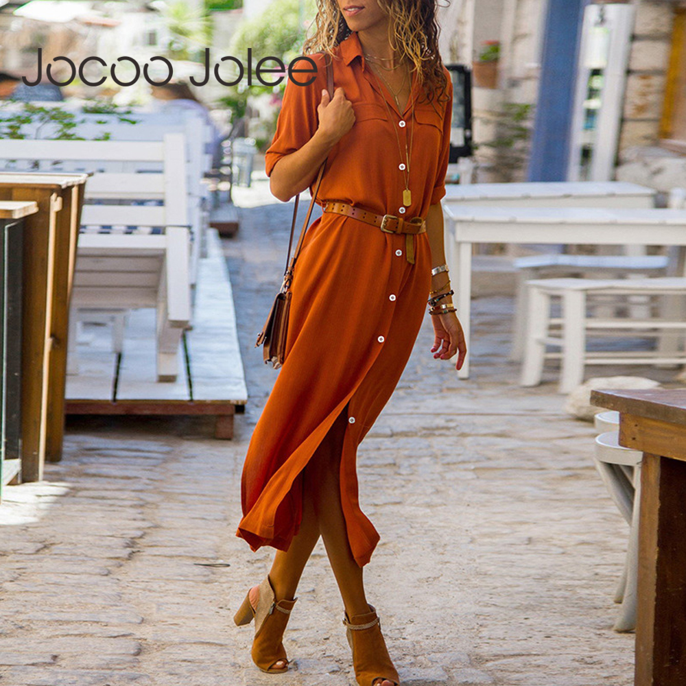 Jocoo Jolee Autumn Winter Button Side Split Long Dress Women Solid Casual Loose Dress Ladies Long Sleeve Midi Dresses Vestidos
