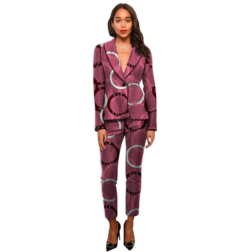 Mode africaine imprimer femmes pantalons + blazers dashiki costumes pour dames conception costumes slim fit costume personnalisé vêtements africains