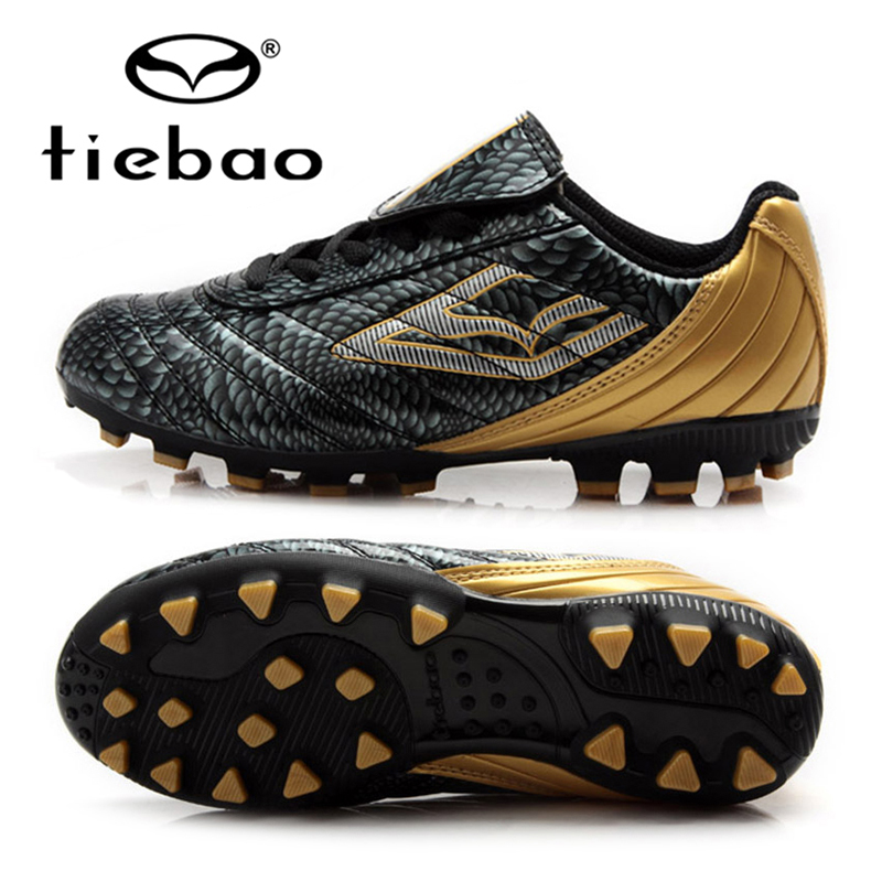 TIEBAO Professional Botas De Futbol Children Football Shoes Boys Training Soccer Cleats Black Boots AG Soles Outdoor Sneakers tiebao professional size 36 43 soccer shoes mens football training sneakers tf turf soles boots outdoor botas de futbol