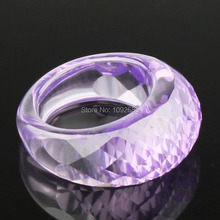 Fashion luxury jewelry cut crystal Ring high quality clear purple Crystal rings oval shape woman ring