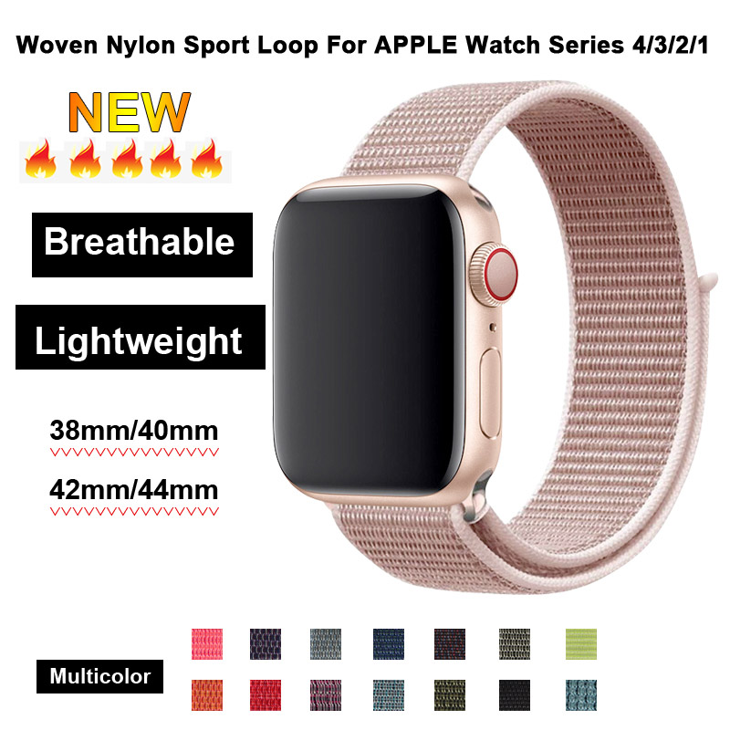 Apricot Sport Loop Nylon Band 44mm 40mm For Apple Watch 4 Fabric Strap 42mm 38mm For Iphone Series 3