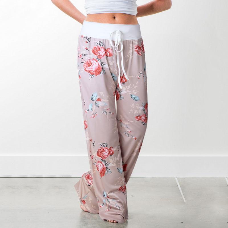 Women Long Pants Loose Floral Print Drawstring Lace Camouflage stripe Wave point Sweatpants 21