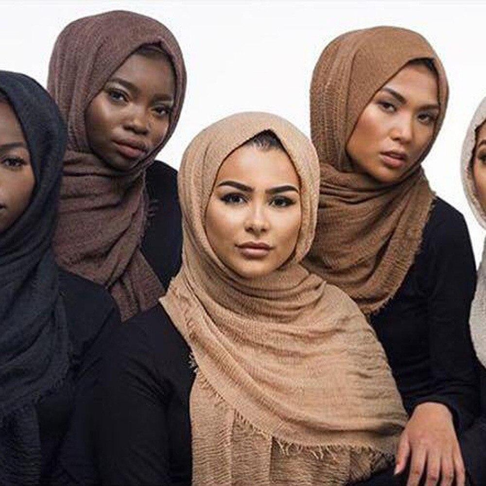 14ec3574e Oversize Muslim Crinkle Hijab Head Scarf Women Solid Bubble Cotton Shawls  And Wraps Soft Big Linen