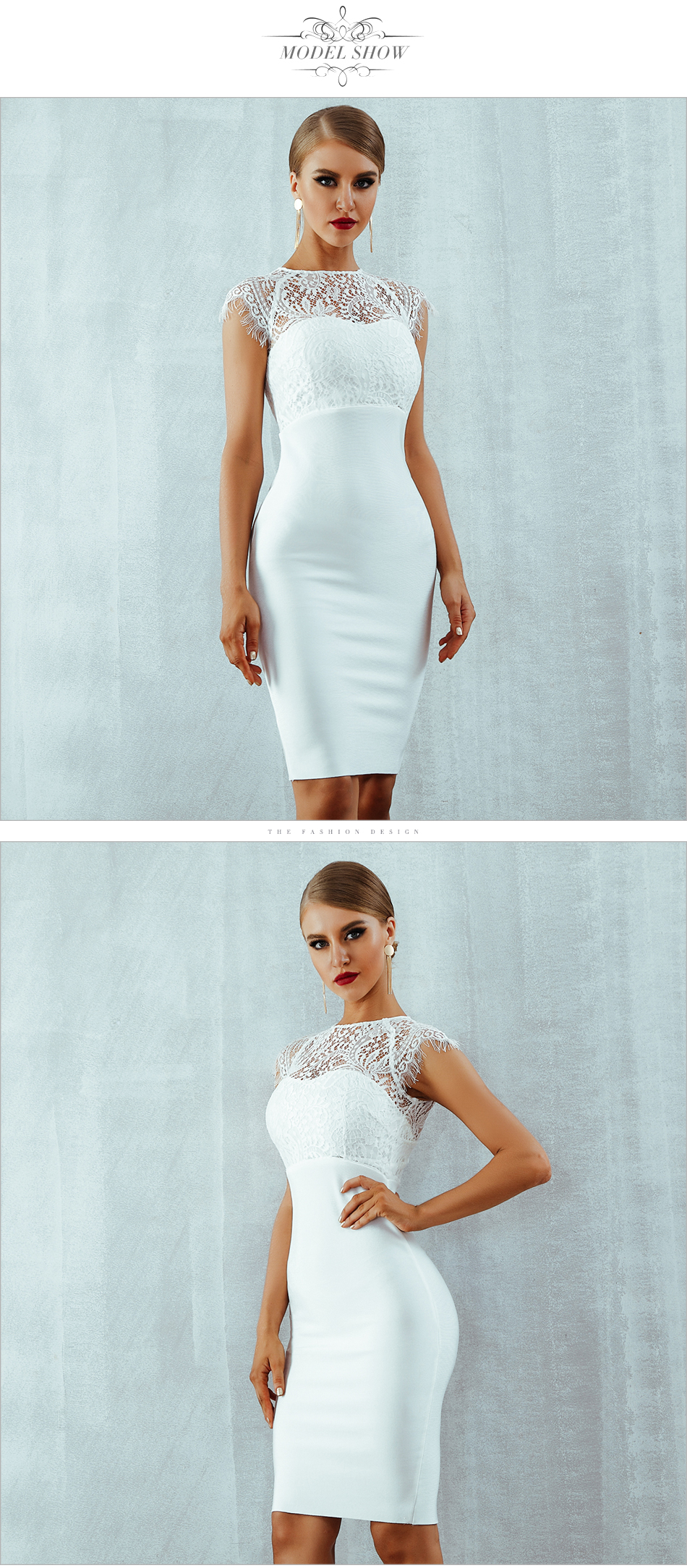Adyce 2018 New Summer Women Bandage Dress Vestidos Sexy White Lace Short Sleeve Hollow Out Midi Club Dresses Evening Party Dress 5
