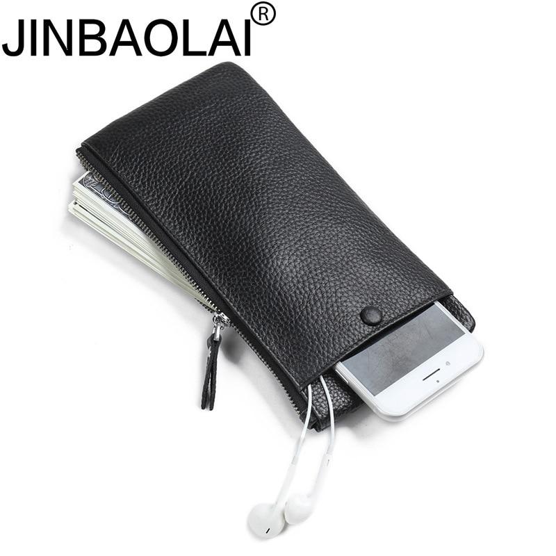Long Handy Portomonee Coin Genuine Leather Zipper Phone Men Wallet Purse Male Long Slim Clutch Money Bag For Walet Cuzdan Vallet