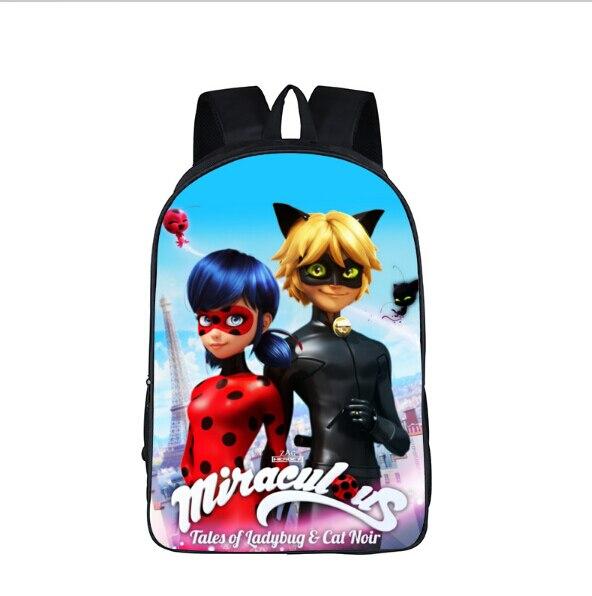 Anime Miraculous Ladybug School Backpack For Teenage Cat Noir Adrien Marinette Boys Girls Bag Children School bags Kids Backpack цена 2016