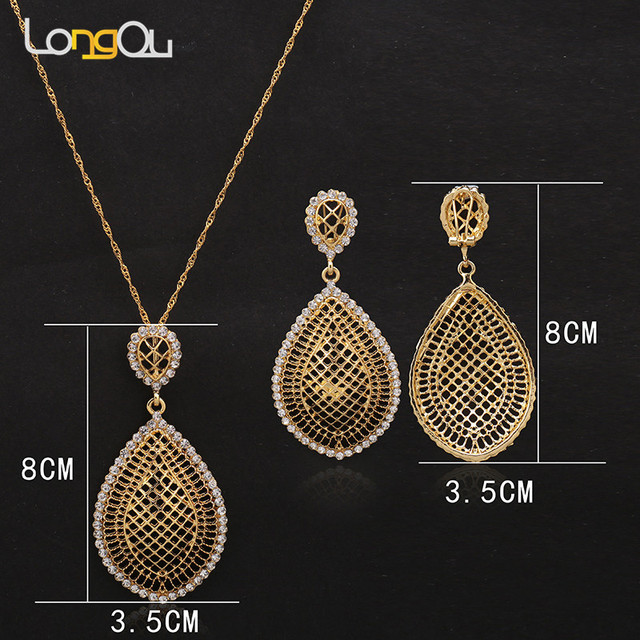 92e8ea3616 US $3.49 30% OFF Women Wedding Jewelry Sets For Brides Gold Color Costume  Necklace Earrings Set Fashion Indian African Beads Jewelry Set-in Jewelry  ...