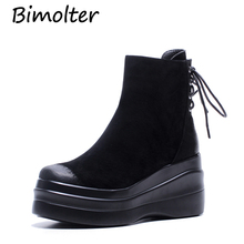 Bimolter Women Platform Shoes Vintage Ankle Boots Lace Up High Flat Heels Zip Real Cow Suede Martin zapatos mujer LASB008