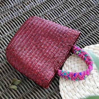 Vintage straw tote bag storage bag woven shopping bag shoulder bag ethnic style woven handbag 4