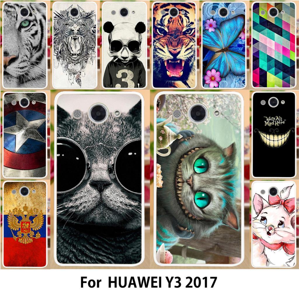 AKABEILA Hard PC Soft TPU Phone Case For Huawei Y3 2017 CRO-L22 CRO-L02 CRO-L03 L23 CRO-U00 Cover Painted Shield Smartphone Hood ...