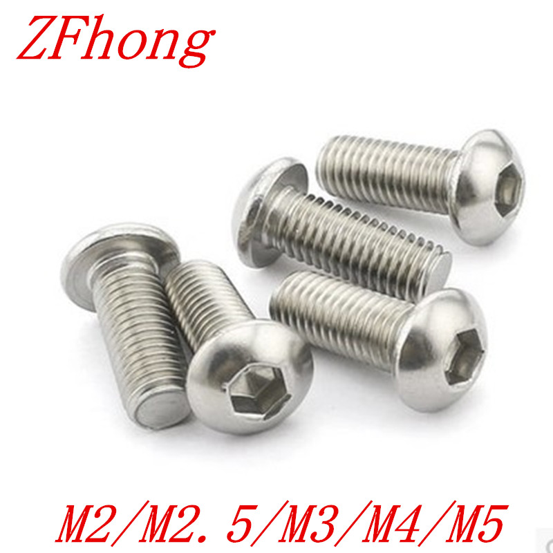 100PCS/LOT M2 M2.5 M3 ISO7380 GB70.2 304 Stainless Steel A2 Round Head Screws Mushroom Hexagon Socket Button Head Screw 440pcs m3 m4 m5 a2 stainless steel iso7380 button head allen bolts hexagon socket screws with nuts assortment kit no 2345